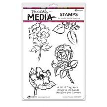 Dina Wakley Media Scribbly Flowers Cling Mount Set Collection from Ranger MDR46097