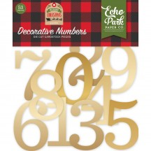 Echo Park My Favorite Christmas Gold Decorative Numbers Die-Cut Cardstock Pieces MFC190029