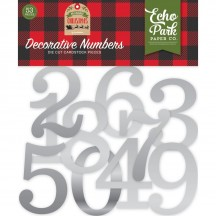 Echo Park My Favorite Christmas Silver Decorative Numbers Die-Cut Cardstock Pieces MFC190030