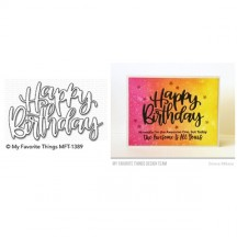 My Favorite Things Happy Birthday Script Die-namics Universal Cutting Dies MFT-1389
