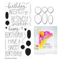 My Favorite Things Birthday Wishes & Balloons Clear Stamps & Die Set
