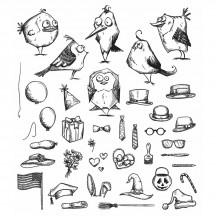 Stampers Anonymous Tim Holtz Mini Bird Crazy & Things Cling Mount Stamp Set CMS250