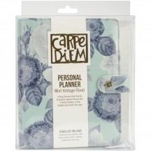 Simple Stories Carpe Diem Personal Faux Leather Planner Mint Vintage Floral Binder Only 7942