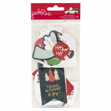 Pebbles Merry Little Christmas Phrase Ephemera Die-Cut Cardstock Shapes 734145