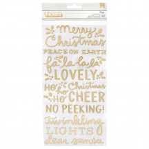 Pebbles Merry Little Christmas Gold Foil Puffy Phrase Thickers 734147