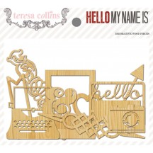 Teresa Collins Hello My Name Is Decorative Wood Pieces - HMN120