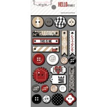 Teresa Collins Hello My Name Is Decorative Chipboard & Buttons HMN121