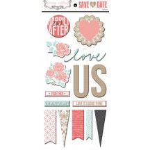 "Teresa Collins Save The Date 12""x12"" Adhesive Chipboard Elements SD1026"