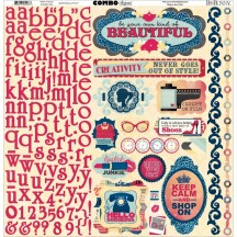 "Bo Bunny Modern Miss 12""x12"" Element & Alphabet Combo Stickers 16103293"