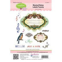 JustRite Musical Notes Labels Twenty Cling Mounted Rubber Stamp Set CL-02215