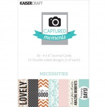 """Kaisercraft Captured Moments Necessities 4""""x6"""" Double Sided Journal Cards CM329"""