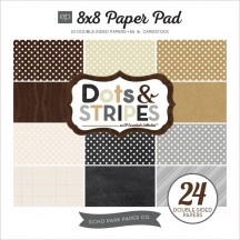 "Echo Park Neutral Dots & Stripes 8""x8"" Double-Sided Paper Pad DS15024"