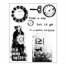 Prima Marketing Finnabair Never Too Late Mixed Media Cling Rubber Stamp Set 961985
