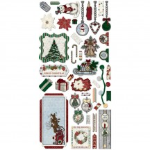 Bo Bunny Tis The Season Noteworthy Die-Cut Journaling & Accents Christmas Cardstock 20513709