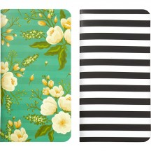 Webster's Pages 2 Pack Traveler Notebooks Green Flower & Striped NP108