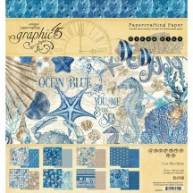 "Graphic 45 Ocean Blue Designer 8""x8"" Paper Pad 24 sheets 4502015"