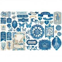 Graphic 45 Ocean Blue Die-Cut Cardstock Ephemera Pieces 4502021