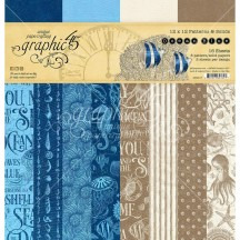 "Graphic 45 Ocean Blue Patterns & Solids 12""x12"" Paper Pad 4502017"