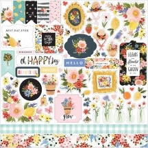 "Carta Bella Oh Happy Day Spring 12""x12"" Die-cut Cardstock Element Stickers OHD112014"