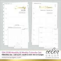 Webster's Pages Personal Planner 2018 12 Month & Week Calendar Inserts P1034