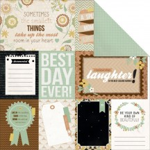 "Kaisercraft Take Note Memories 12""x12"" Double Sided Cardstock - Journaling Elements Cards P1280"