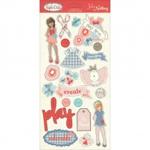 """Photoplay Julie Nutting Paper Dolls 6""""x12"""" Adhesive Chipboard Stickers PD2157"""
