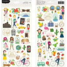 "Pebbles Jen Hadfield Chasing Adventures 6""x12"" Accent Stickers 2 sheets 734022"