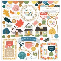 """American Crafts Paige Evans Bungalow Lane 12""""x12"""" Self Adhesive Chipboard Accents 34003651"""