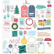 Pinkfresh Studio Home for the Holidays Christmas Die-Cut Cardstock Ephemera Pack 600419