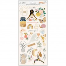 """American Crafts Jen Hadfield Peaceful Heart 6""""x12"""" Accent & Phrase Stickers 34008012"""