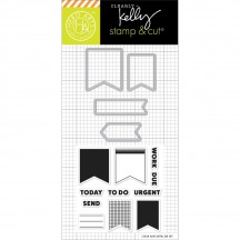 Hero Arts Clearly Kelly Planner Banners Stamp & Cuts Clear Stamp & Universal Cutting Die Set DC173