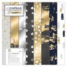 "doCrafts Papermania Capsule Elements Metallic 6""x6"" Gold & Silver Foil Paper Pack 160256"