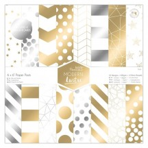 "doCrafts Papermania Modern Lustre 6""x6"" Gold & Silver Foil Paper Pack 160509"