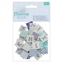 doCrafts Papermania Capsule Moroccan Blue Wooden Tile Letters 174599