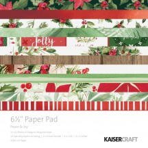 "Kaisercraft Peace & Joy 6.5""x6.5"" Specialty Christmas Paper Pad PP1052 40 Sheets"