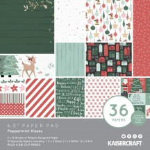 "Kaisercraft Peppermint Kisses Christmas 6.5""x6.5"" Specialty Paper Pad PP1075"