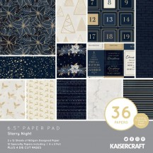 "Kaisercraft Starry Night Christmas 6.5""x6.5"" Specialty Paper Pad PP1076"