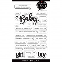PhotoPlay Say It with Stamps Baby Boy & Girl Clear Stamp & Die Set