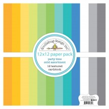 "Doodlebug Party Time Solid Textured 12""x12"" Cardstock Assortment 6695"