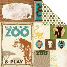 "Bo Bunny Safari Zoo Double-sided 12""x12"" Open Cardstock - 17701824"