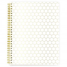 "Webster's Pages Gold Hexagon 8.5""x11"" Composition Spiral Bound Notebook SB004"