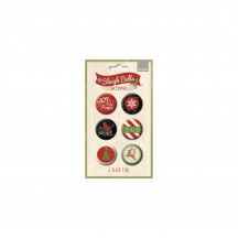 My Mind's Eye Sleigh Bells Ring Flair Button Badge Embellishment Stickers SBR118