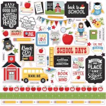 "Echo Park School Rules 12""x12"" Element Shape Stickers SCR215014"