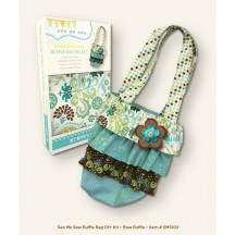 My Mind's Eye See Me Sew  Designer Fabric Bag DIY Kit - Blue Ruffle