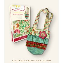 My Mind's Eye See Me Sew  Designer Fabric Bag DIY Kit - Red Ruffle