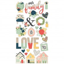 Simple Stories So Happy Together Self Adhesive Chipboard Shape Stickers 11714