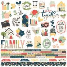 "Simple Stories So Happy Together 12""x12"" Combo Element & Word Stickers 11701"