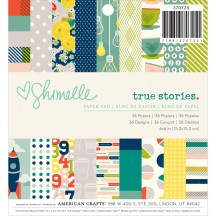 """American Crafts Shimelle True Stories 6""""x6"""" Paper Pad 370725 36 Sheets"""