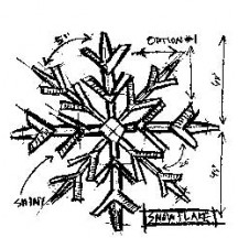 Tim Holtz Snowflake Sketch Wood Mounted Rubber Stamp by Stampers Anonymous - P1-1946