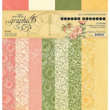 """Graphic 45 Garden Goddess Patterns & Solids 12""""x12"""" Paper Pad 16 sheets 4501754"""